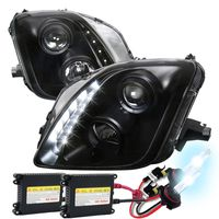 HID Xenon + 97-01 Honda Prelude Black Housing LED DRL Strip Projector Headlights