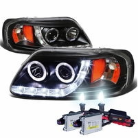 HID Xenon + 97-03 Ford F150 / Expedition Angel Eye LED Strip Projector Headlights Black