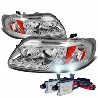 HID Xenon + 97-03 Ford F150 / Expedition Angel Eye LED Strip Projector Headlights Chrome
