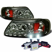 HID Xenon + 97-03 Ford F150 / Expedition Angel Eye LED Strip Projector Headlights Smoked
