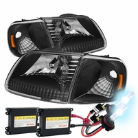 HID Xenon + 97-03 Ford F150 / Expedition Crystal Headlights + Corner - Black