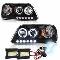 HID Xenon + 97-03 Ford F150 / Expedition Halo LED Projector Headlights - Black