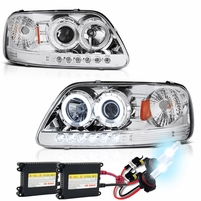 HID Xenon + 97-03 Ford F150 / Expedition Halo LED Projector Headlights - Chrome