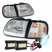 HID Combo 97-03 Ford F150 / Expedition LED DRL (LED Signal) Crystal Headlights Set - Chrome