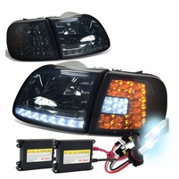 HID Xenon + 97-03 Ford F150 / Expedition LED DRL (LED Signal) Crystal Headlights Set - Smoked