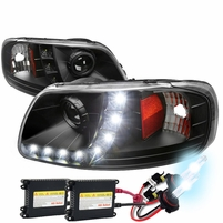 HID Xenon + 97-03 Ford F150 / Expedition LED DRL Projector Headlights Black