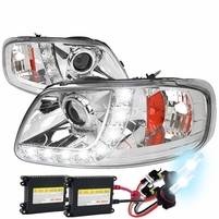 HID Xenon + 97-03 Ford F150 / Expedition LED DRL Projector Headlights Chrome