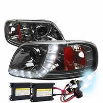 HID Xenon + 97-03 Ford F150 / Expedition LED DRL Projector Headlights Smoked