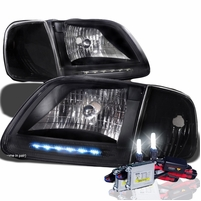 HID Xenon + 97-03 Ford F150 / Expedition LED Strip Crystal Headlights With Corner Lens - Black