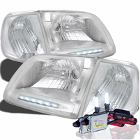 HID Xenon + 97-03 Ford F150 / Expedition LED Strip Crystal Headlights With Corner Lens - Chrome