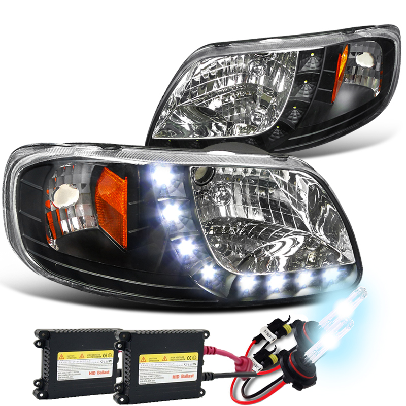 Hid Xenon 97 03 Ford F150 Led Strip Crystal Headlights Black