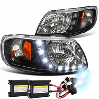 HID Xenon + 97-03 Ford F150 LED Strip Crystal Headlights - Black