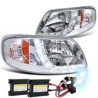 HID Xenon + 97-03 Ford F150 LED Strip Crystal Headlights - Chrome
