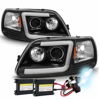 HID Xenon + 97-03 Ford F150 LED Tube Projector Headlights - Black