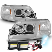 HID Xenon + 97-03 Ford F150 LED Tube Projector Headlights - Chrome