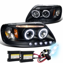 HID Xenon + 97-03 Ford F150 Pickup Angel Eye Halo LED Projector Headlights - Black