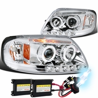 HID Xenon + 97-03 Ford F150 Pickup Angel Eye Halo LED Projector Headlights - Chrome