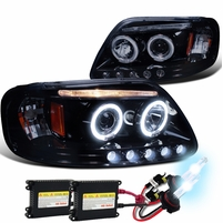 HID Xenon + 97-03 Ford F150 Pickup Angel Eye Halo LED Projector Headlights - Gloss Black