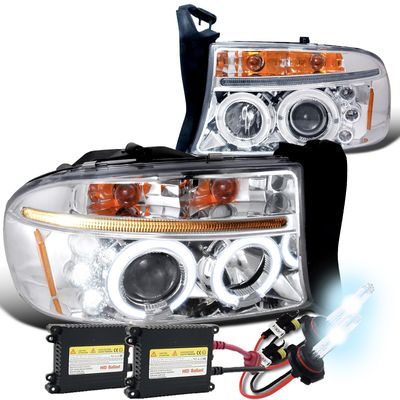 HID Xenon + 97-04 Dodge Dakota / Durango Angel Eye Halo & LED Projector Headlights - Chrome