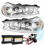 HID Xenon + 98-00 Ford Contour Crystal Replacement Headlights - Pair