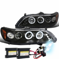 HID Xenon + 98-02 Honda Accord Angel Eye Halo & LED Projector Headlights - Black