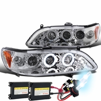 HID Xenon + 98-02 Honda Accord Angel Eye Halo & LED Projector Headlights - Chrome