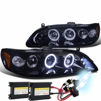 HID Xenon + 98-02 Honda Accord Angel Eye Halo & LED Projector Headlights - Gloss Black