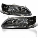 98-02 Honda Accord JDM Style 1-PC Crystal Headlights - Black