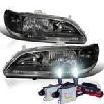HID Xenon + 98-02 Honda Accord JDM Black Crystal Headlights- Black