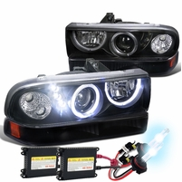 HID Xenon + 98-04 Chevy S10 / 98-05 Blazer Dual Halo Projector Headlights With Bumper Lights - Black