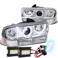 HID Xenon + 98-04 Chevy S10 / 98-05 Blazer Dual Halo Projector Headlights With Bumper Lights - Chrome