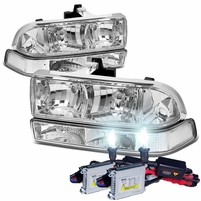 HID Xenon + 98-04 Chevy S10 / Blazer Crystal Replacement Headlights + Bumper Lens - Chrome Clear