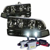 HID Xenon + 98-04 Chevy S10 / Blazer Crystal Replacement Headlights - Smoked Clear