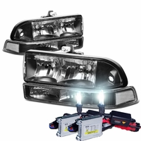 HID Xenon + 98-04 Chevy S10 / Blazer Crystal Replacement Headlights - Black Clear
