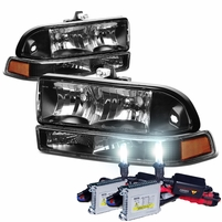 HID Xenon + 98-04 Chevy S10 / Blazer Replacement Crystal Headlights - Black Amber