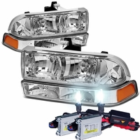 HID Xenon + 98-04 Chevy S10 / Blazer Replacement Crystal Headlights - Chrome Amber
