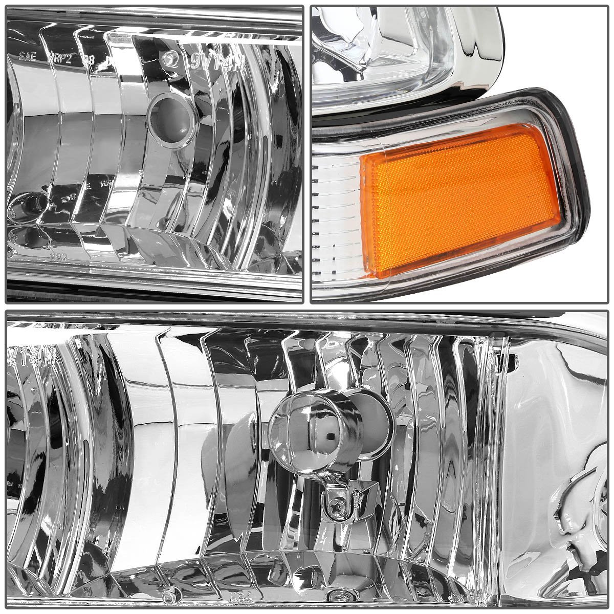 Hid Xenon 98 04 Chevy S10 Blazer Replacement Crystal Headlights Chrome Amber