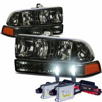 HID Xenon + 98-04 Chevy S10 / Blazer Replacement Crystal Headlights - Smoked Amber