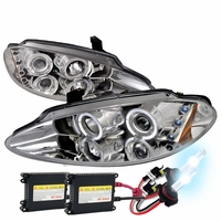 HID Xenon + 98-04 Dodge Intrepid Angel Eye Halo & LED Projector Headlights - Chrome