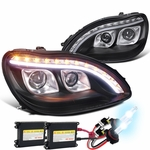 HID Xenon + 98-06 Benz S-Class W220 S320 S420 Projector LED Signal DRL Headlights Black