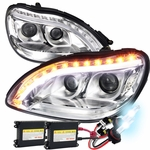 HID Xenon + 98-06 Benz S-Class W220 S320 S420 Projector LED Signal DRL Headlights Chrome