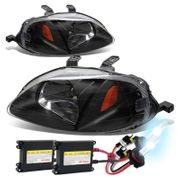 HID Xenon + 99-00 Honda Civic Crystal Replacement Headlights - Black