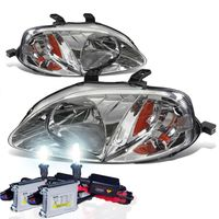 HID Xenon + 99-00 Honda Civic Crystal Replacement Headlights - Chrome