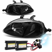 HID Xenon + 99-00 Honda Civic Replacement Crystal Headlights - Black