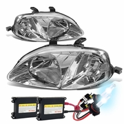 HID Xenon + 99-00 Honda Civic Replacement Crystal Headlights - Chrome