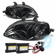 HID Xenon + 99-00 Honda Civic Replacement Crystal Headlights - Smoked