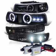 HID Xenon + 99-02 Chevy Silverado / 00-06 Suburban Tahoe Angel Eye Halo LED Projector Headlights + Bumper Lens - Black
