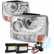 HID Xenon + 99-02 Chevy Silverado 1PC LED DRL Projector Headlights Chrome
