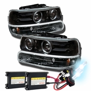 HID Xenon + 99-02 Chevy Silverado / Suburban / Tahoe Angel Eye Halo & LED Projector Headlights + Bumper Lens - Black