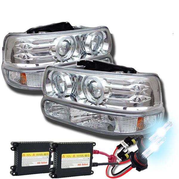 HID Xenon + 99-02 Chevy Silverado / Suburban / Tahoe Angel Eye Halo & LED Projector Headlights + Bumper Lens - Chrome